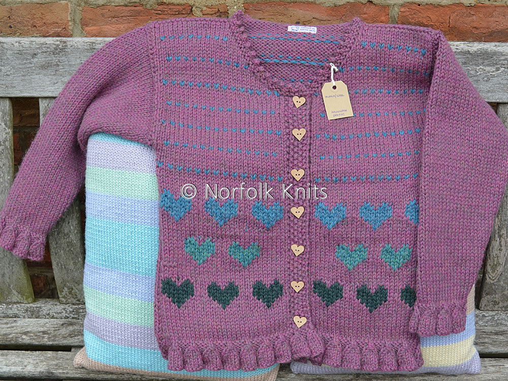 Norfolk Knits Heart motif Child's Cardigan